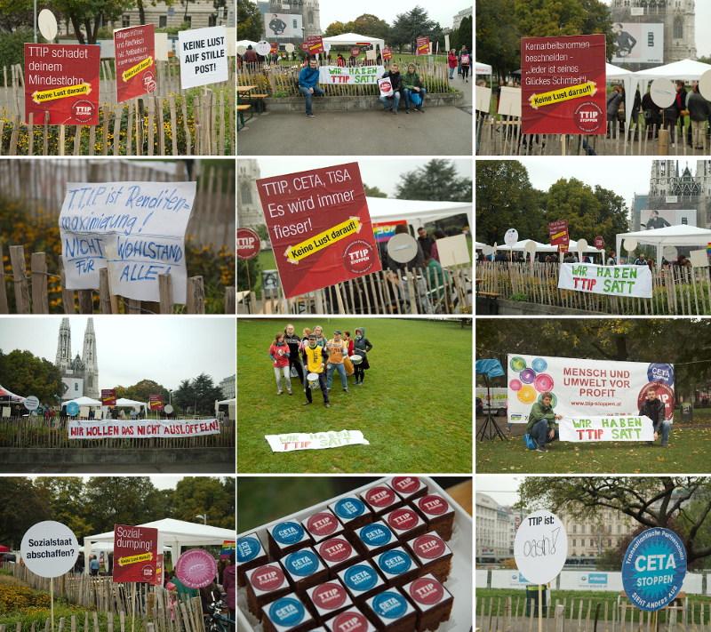 Aktion gegen TTIP, TiSA und CETA: Infoveranstaltung und PickNick vor der Votivkirche inWien