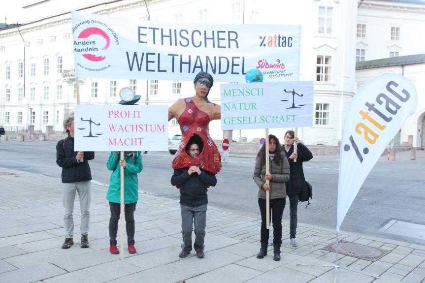 Attac-Südwind-Demonstration beim Treffen der EU-HandelsministerInnen